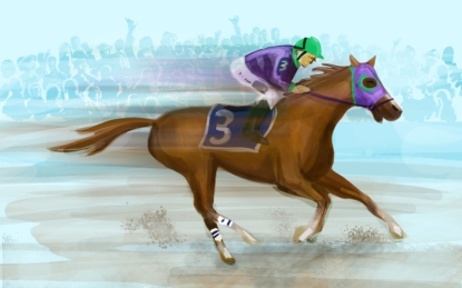 FIREGNAT - California Chrome as he approaches the Preakness finish line.